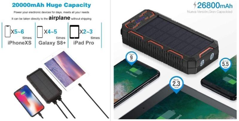 capacita powerbank solare